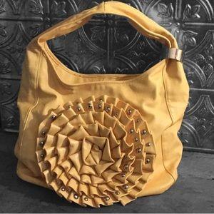 NWOT Vegan Leather Yellow Rosette Hobo Handbag